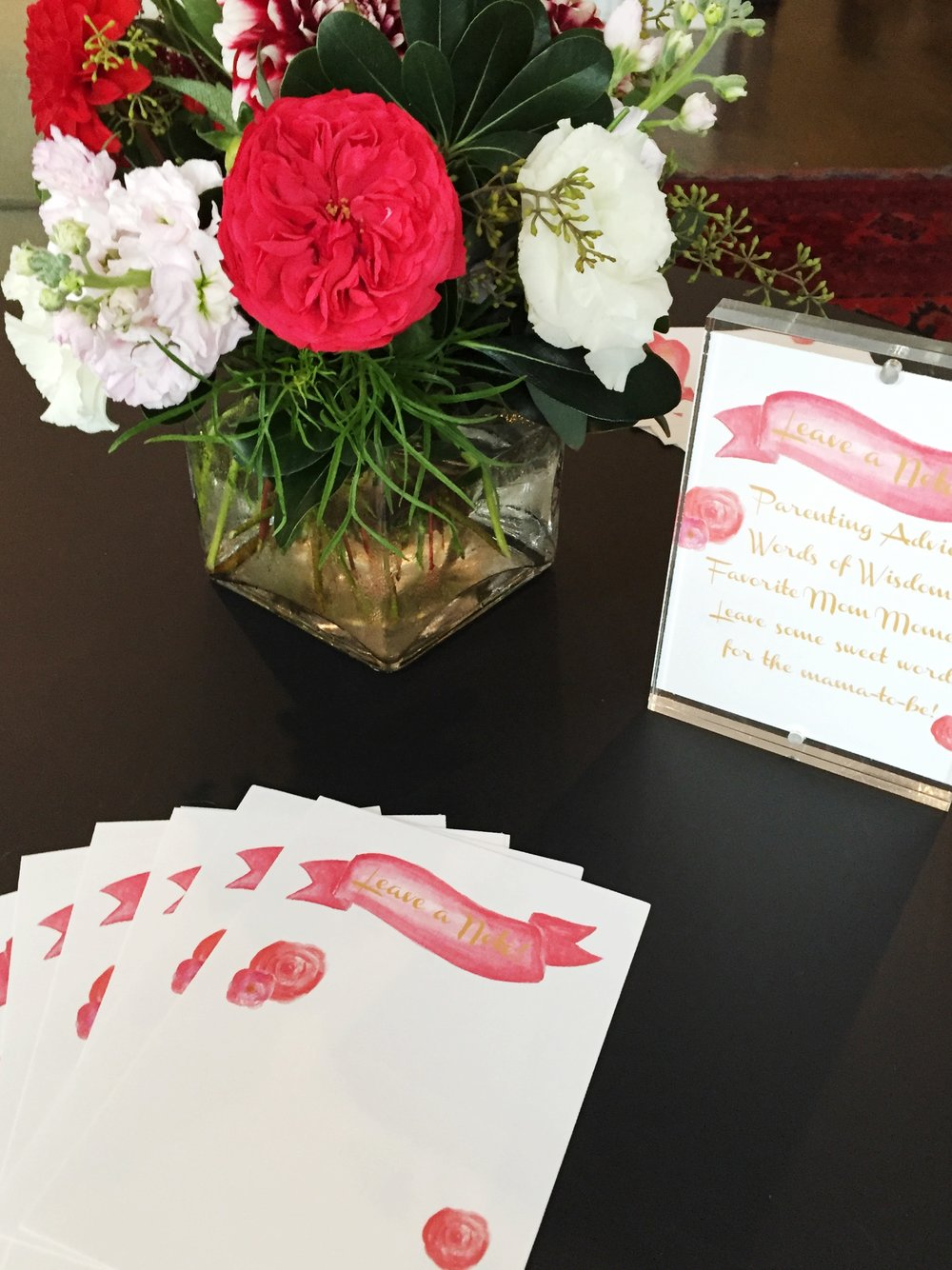 baby girl shower, pink and red shower cards, pink flowers, Wrap It Up Parties