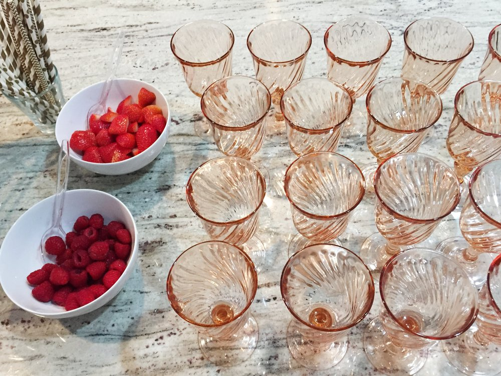 baby girl shower, pink and red baby shower, pink champagne flutes, Wrap It Up Parties
