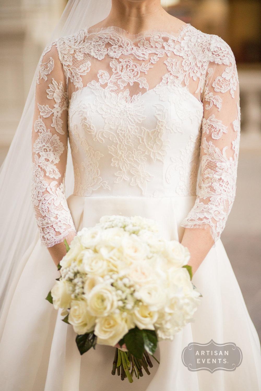 wedding dress, bride, lace, bouquet, Chicago Cultural Center, Wrap It Up Parties