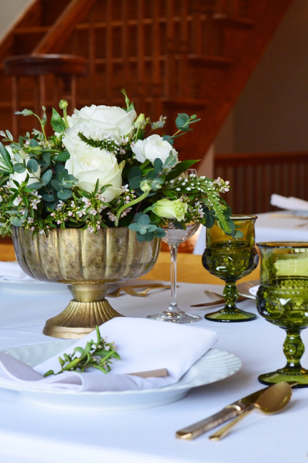 Vintage Bridal Shower  Green and White Centerpiece   Vintage Table Decor  Planning by Wrap It Up Parties