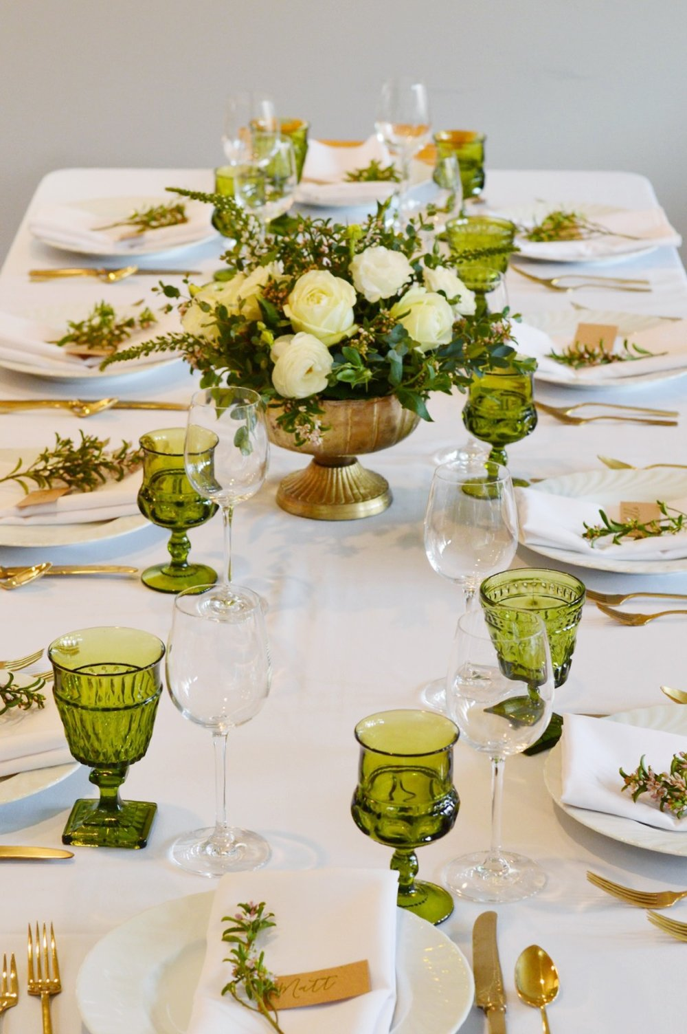 Vintage Inspired Bridal Shower  Bridal Shower Table Setting  Green and White Bridal Shower   Planning by Wrap It Up Parties