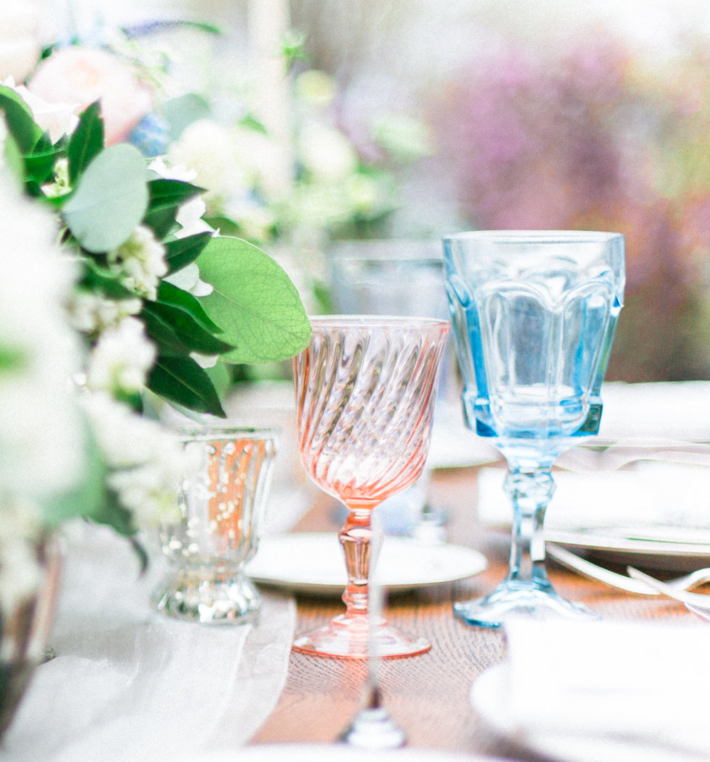 Spring Garden Shower  Pink and Blue Glasses  Shower Details  Planning by Wrap It Up Parties