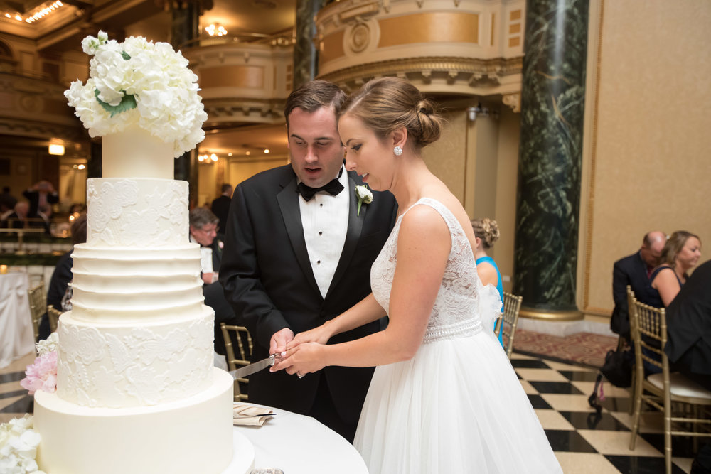 White Wedding Cake  Bride and Groom Cake Cutting  School of the Art Institute  Planning by Wrap It Up Parties