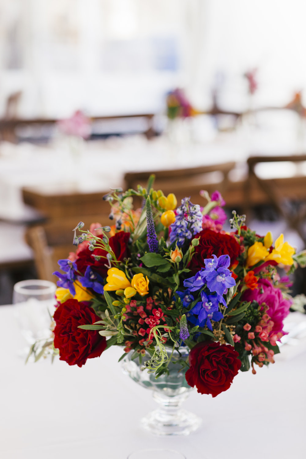 Private Residence Wedding  Colorful Flower Arrangement  Colorful Centerpiece  Planning by Wrap It Up Parties