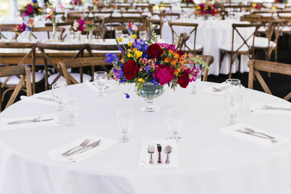 Private Residence Wedding  Colorful Centerpiece  Reception Seating  Planning by Wrap It Up Parties