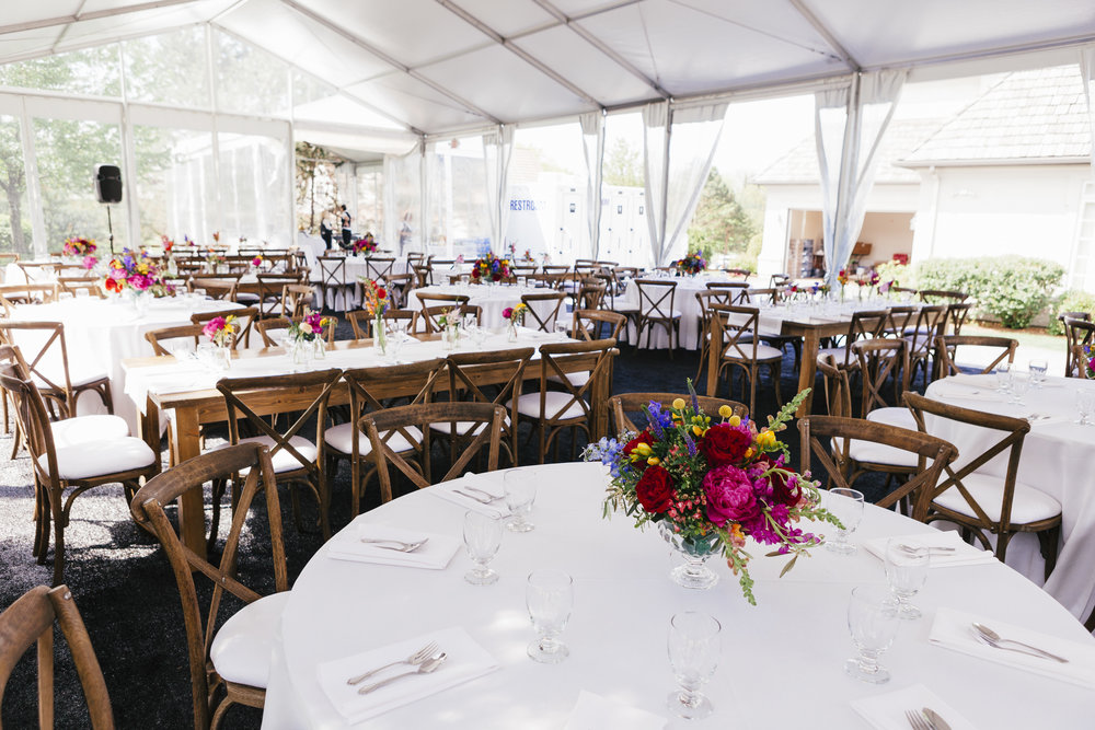 Private Residence Wedding  Colorful Tent Wedding Decor  Planning by Wrap It Up Parties