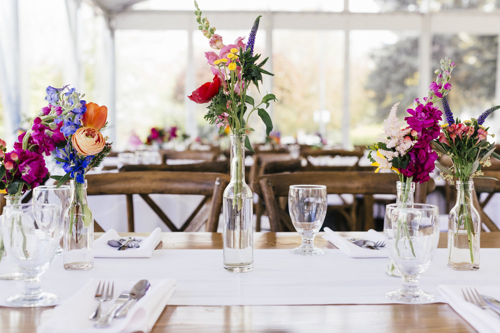 Private Residence Wedding  Colorful Centerpieces  Colorful Tablescape  Planning by Wrap It Up Parties