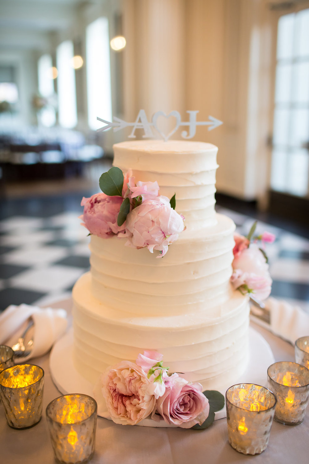 Pink and White Wedding Cake  Cake Table Decor  Planning by Wrap It Up Parties
