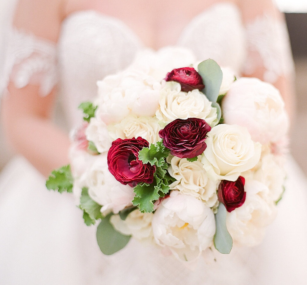 White and Red Bouquet  Planning by Wrap It Up Parties