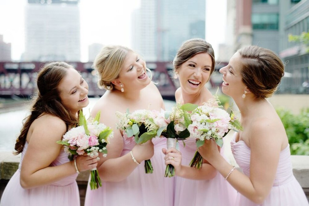 Pink Bridesmaids Dresses  Bridesmaid Bouquets   Planning by Wrap It Up Parties