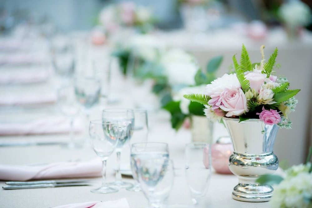 Pink Centerpieces   Reception Seating  Planning by Wrap It Up Parties