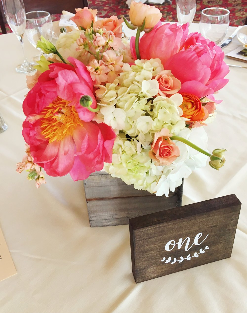 Pink and Green Floral Centerpiece  Rustic Table Numbers  Planning by Wrap It Up Parties