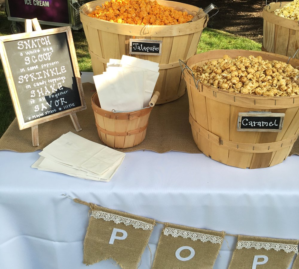 Rustic Graduation Party  Popcorn Table Decor  Planning by Wrap It Up Parties