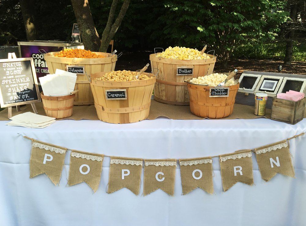 Popcorn Table Decor  Rustic Graduation Party Details  Planning by Wrap It Up Parties