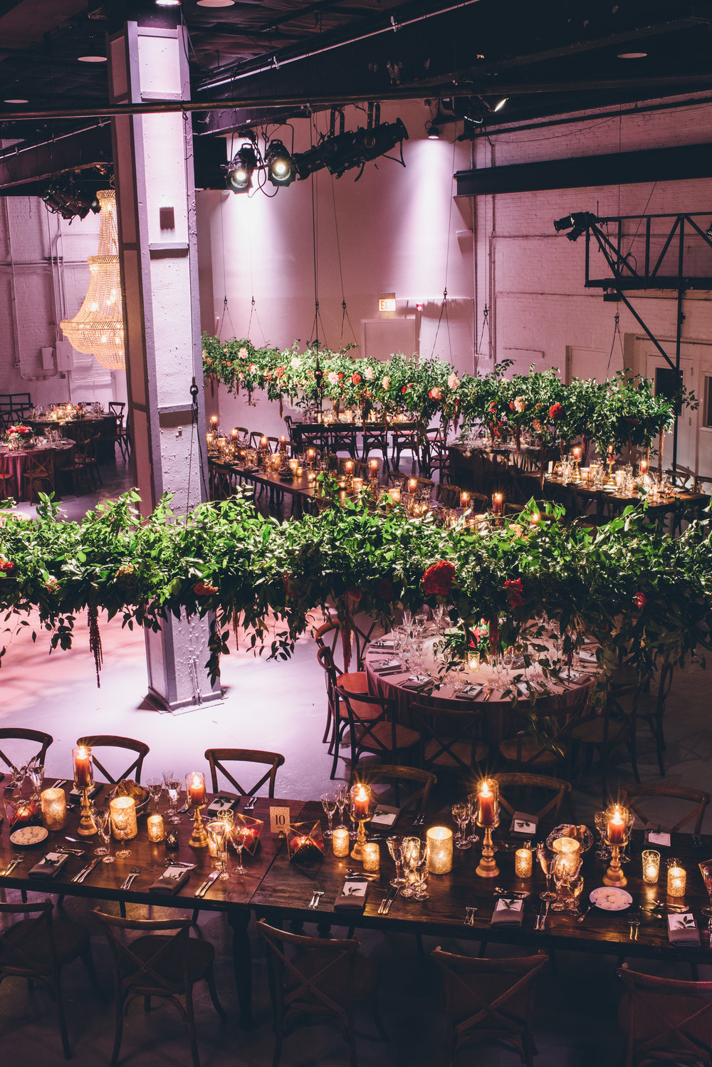 Wedding Reception Decor  Hanging Greenery   Planning by Wrap It Up Parties
