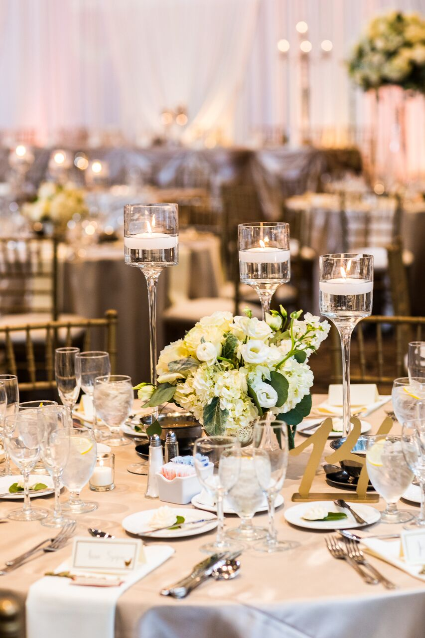 White and Green Centerpieces  Wedding Reception Table Decor  Planning by Wrap It Up Parties