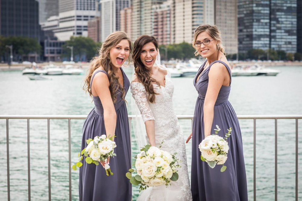 Bride and Bridesmaids  Mauve Bridesmaid Dresses  White and Green Bouquets  Planning by Wrap It Up Parties