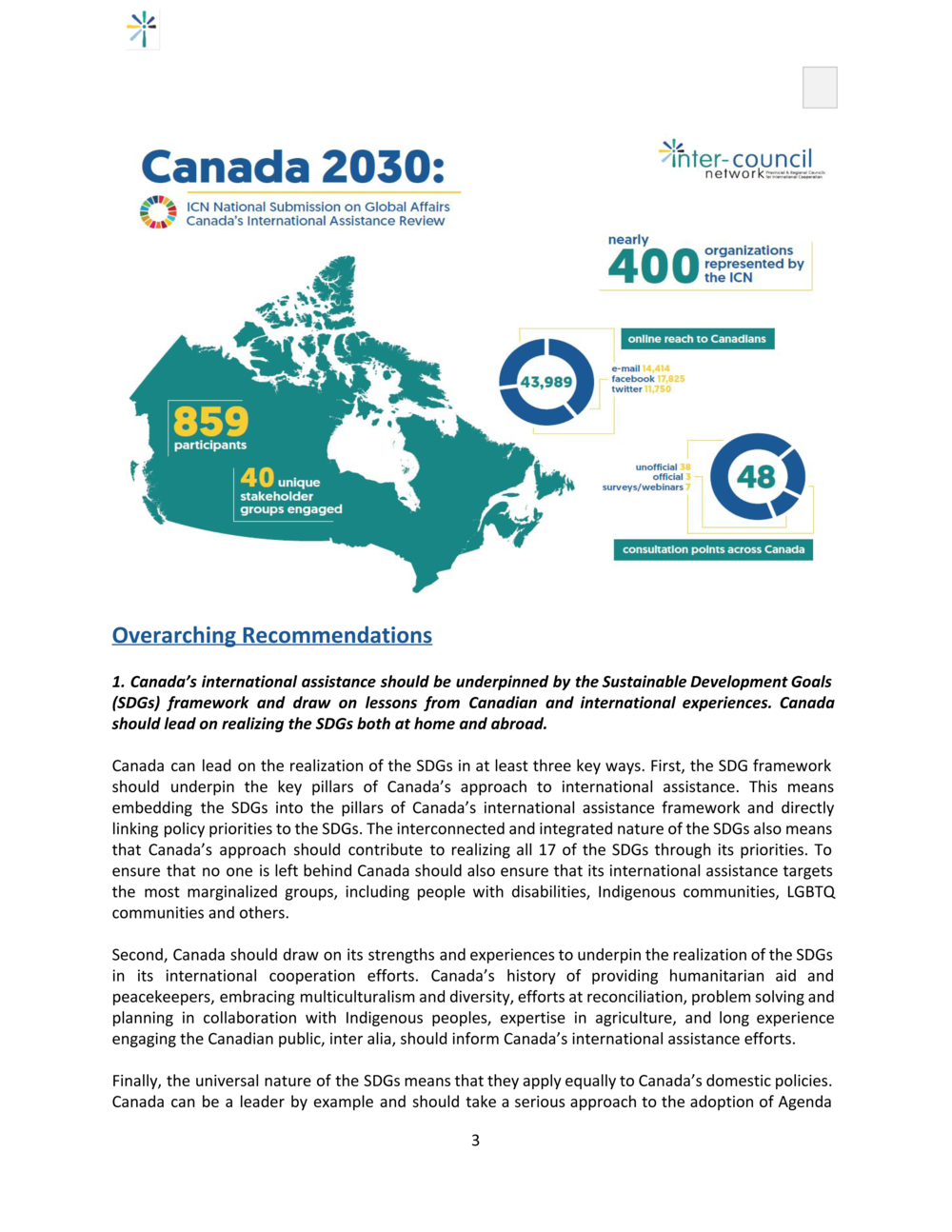 Canada 2030: ICN National Submission on Global Affairs Canada's International Assistance Review (IAR)