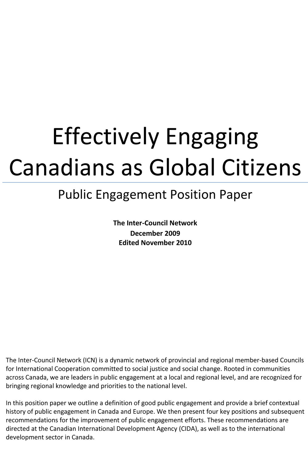 Effectively Engaging Canadians as Global Citizens: Public Engagement Position Paper