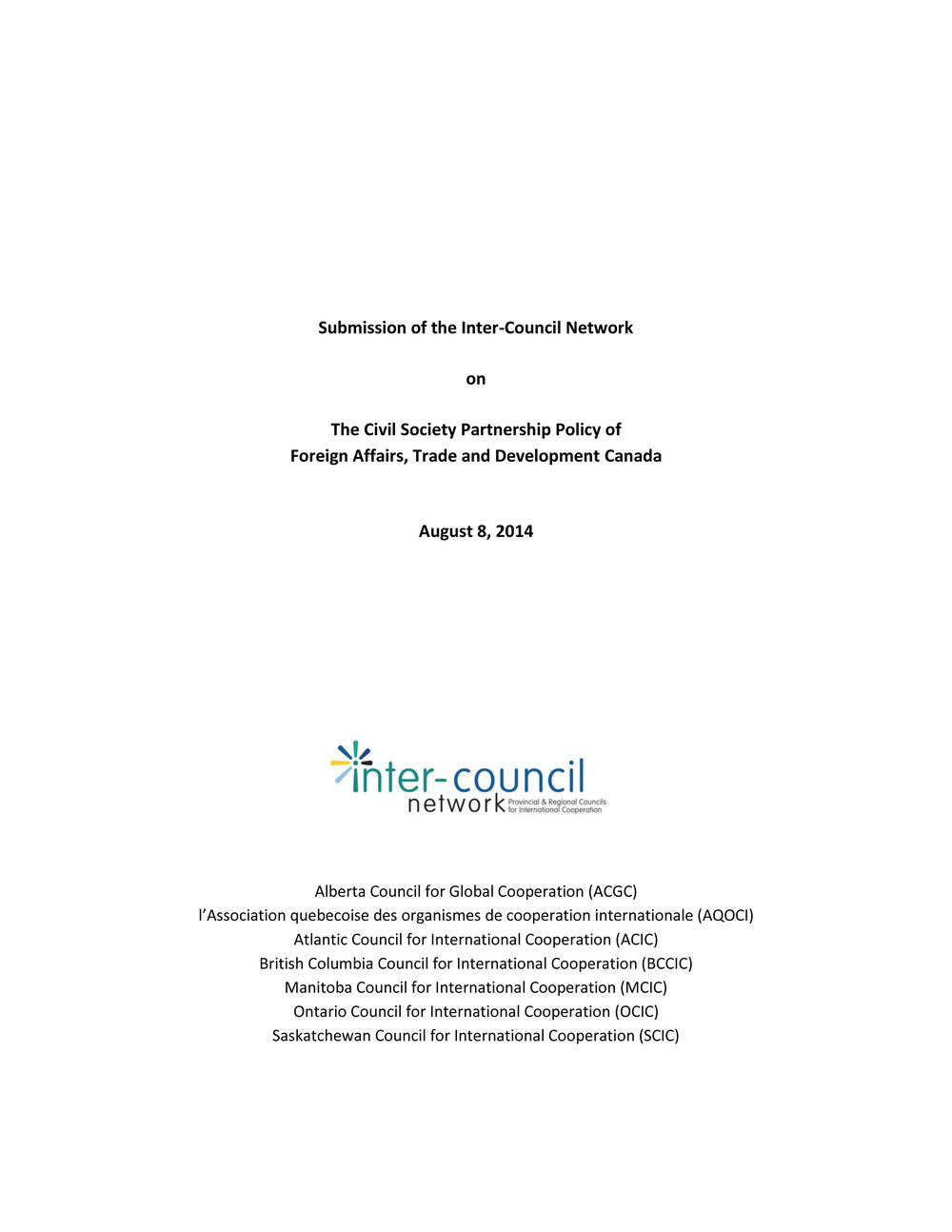 ICN's Submission to Global Affairs Canada regarding the Civil Society Partnership Policy, August 2014