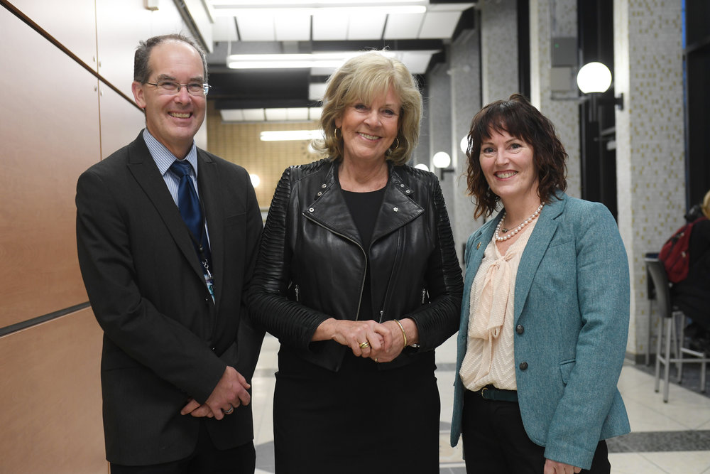 Dr. David Anderson, Dean, Faculty of Medicine, Dalhousie University and Shawna O'Hearn, Director, Global Health Office at Dalhousie University, with Sally Armstrong.