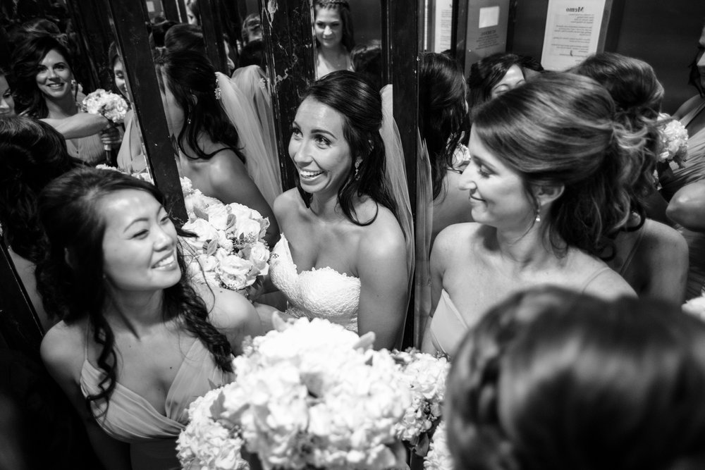 Bride in the elevator