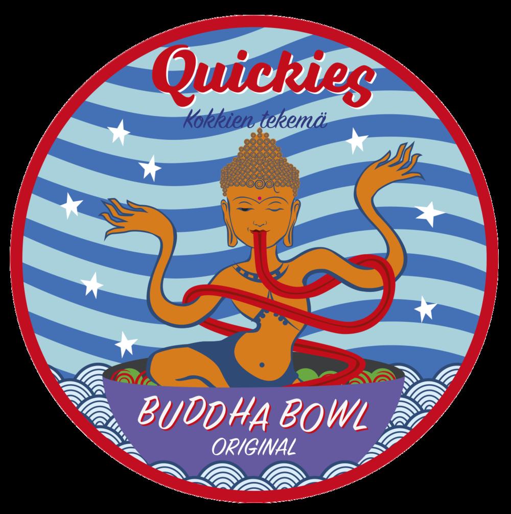 Quickies Buddha Bowl - Original  (vegan, gluten-free) 425g  Sisältö: Riisinuudeli,gluteeniton  soija kastike, seesaminsiemen,  bataatti, öljy (rypsi, oliivi), chili,  valkosipuli , valkoviinietikka, sokeri, suola, tomaatti, ruohosipuli, persilja, timjami, sitruuna, lime,  punasipuli , kikherne, cajun-mauste ( valkosipuli- jauhe, cayannepippuri,  paprika , mustapippuri, oregano), porkkana, kaneli,  hummus ( kikherne,  tahini ( seesamin-siemen ), kumina), kvinoa, herkkusieni, balsamico, punajuuri, kurpitsansiemen, kukkakaali  Per 100g: energia, laskennallinen (kJ) 560,3, (kcal) 133,91 | hiilihydraatti imeytyvä (g) 17,4 joista sokereita 2,7 | rasva (g) 4,9 | proteiini (g) 3,6 | kuitu, kokonais- (g) 2,7