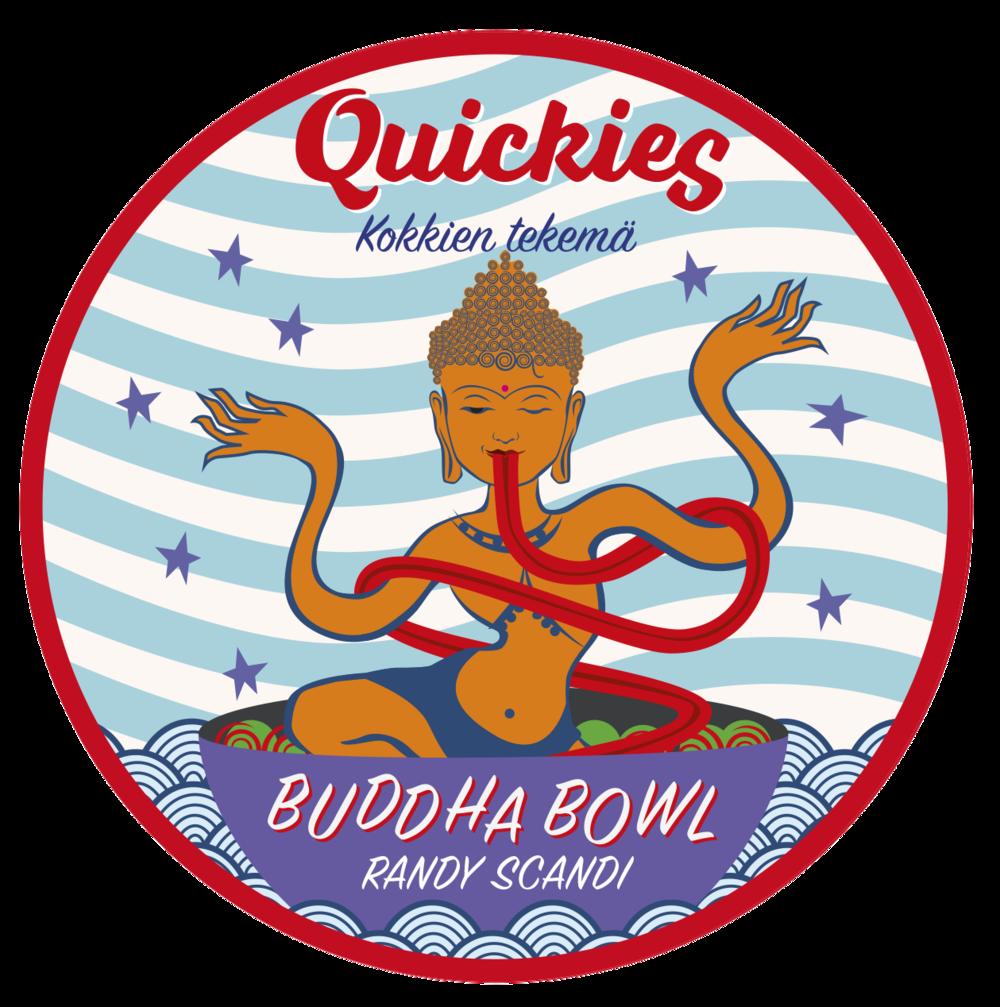 Quickies Buddha Bowl - Randy Scandi  (dairy-free) 425g  Ohrahelmi,Peruna,ruohosipuli, persilja, mustapippuri, suola, punasipuli, Kapris varrellinen, sokeriherne, kukkakaali ( valkosipuli- jauhe, cayannepippuri,  paprika , mustapippuri, oregano), lohi lämminsavustettu (norja), punajuuri, balsamico, lehtikaali, tomaatti, hummus  ( kikherne,  tahini ( seesamin-siemen ), kumina), porkkana, kaneli, kurpitsansiemen  Per 100g: energia, laskennallinen (kj) 415,0, (kcal) 99,18 | hiilihydraatti imeytyvä 7,4 joista sokereita 2,6 | rasva (g) 5,5 | proteiini (g) 3,9 | kuitu, kokonais- (g) 1,8