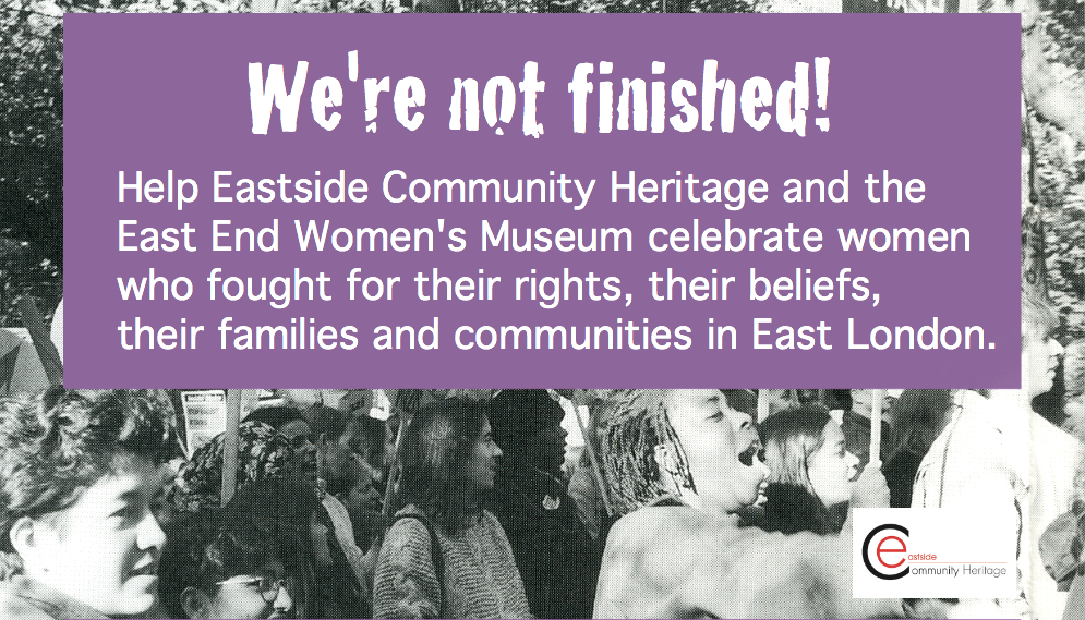 We're not finished! Slogan and photograph of women protesting