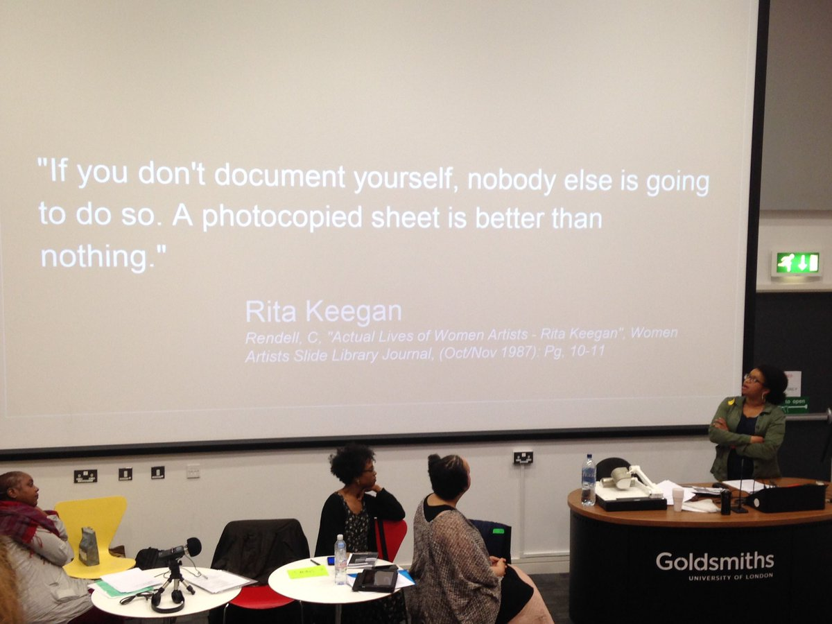 "Slide reading ""If you don't document yourself, no one else is going to do so. A photocopied sheet is better than nothing."" - Rita Keegan"