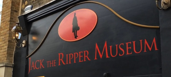 Black and red Ripper Museum shopfront sign