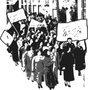 Illustration of a group of women protesting with placards