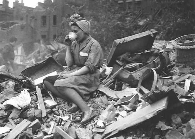 Woman drinking tea during the Blitz