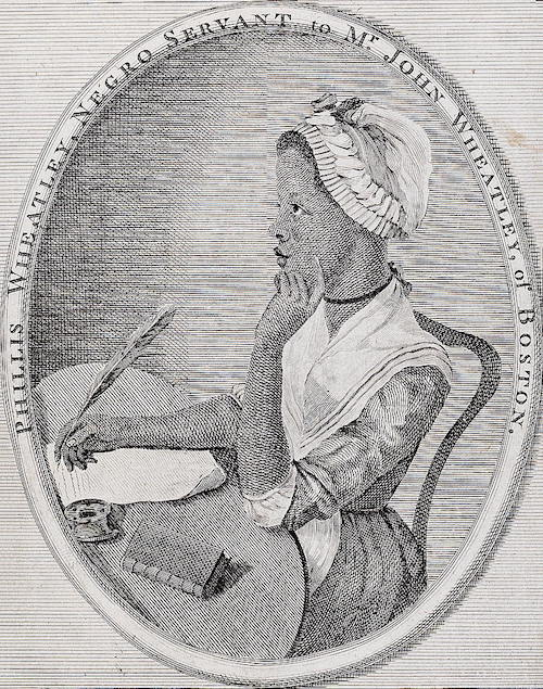 Etching of Phillis Wheatley posed with pen and paper book frontispiece