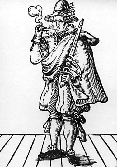 Woodcut of Mary Frith smoking a pipe and holding a sword