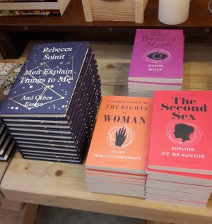 Feminist books in the Emma Hamilton exhibition gift shop