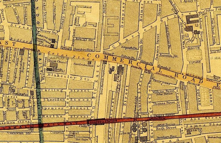 Section of Map of London, 1868 by Edward Weller