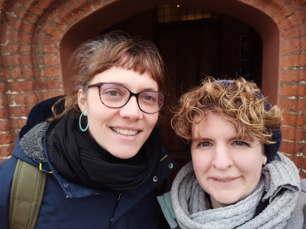 Fani (left) and Rachel (right) outside their temporary home in Upney, Eastbury Manor House