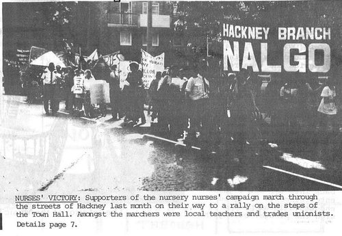 Supporters of the nursery nurses' campaign march to a rally outside Hackney Town Hall, 1975.  Hackney People's Press .