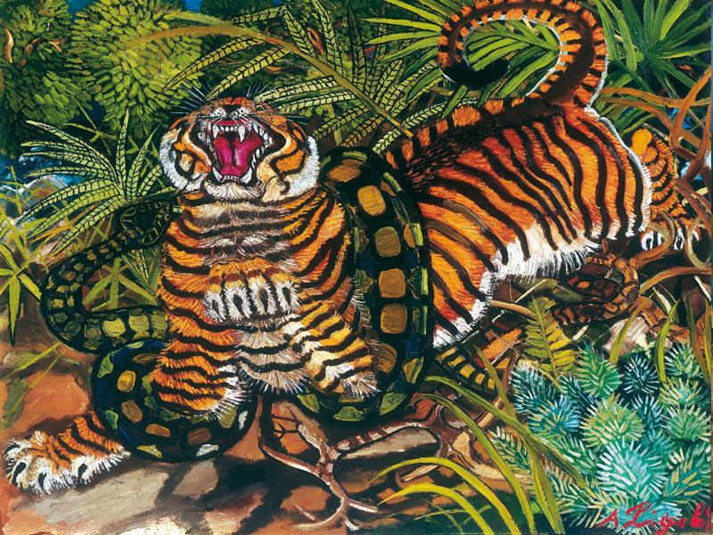 Tigre con serpente
