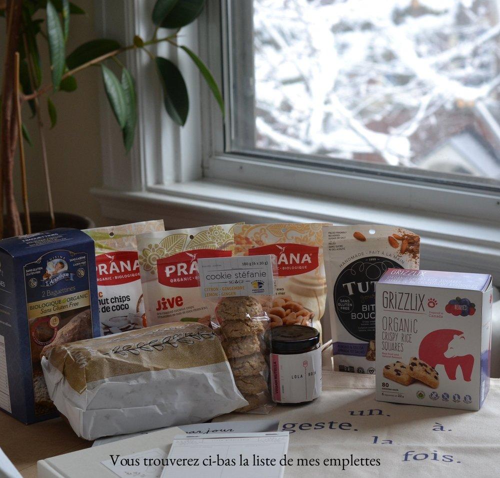 Pour le magnifique sac «Un geste à la fois »   Dans Le Sac  Le site  http://danslesac.co/   Instagram  @dans_le_sac   https://www.instagram.com/dans_le_sac/?hl=fret   Facebook  https://www.facebook.com/infodanslesac/?fref=ts     Les croustilles de noix de coco et les noix noix de cajou  Prana , toujours une belle collation avec un bon fruit frais   Prana  Le site  https://www.prana.bio/fr_ca/?___store=fr_ca   Instagram @pranabio  https://www.instagram.com/pranabio/?hl=fr   Facebook  https://www.facebook.com/pranabio/?fref=ts     Les articles de papeterie de  Trois fois par jour  sont magnifiques. Je ne pouvais pas passer à côté!   Trois fois par jour Le site  http://www.troisfoisparjour.com/fr   Instagram @troisfoisparjour  https://www.instagram.com/troisfoisparjour/?hl=fr   Facebook @TROISFOISPARJOUR.officiel  https://www.facebook.com/TROISFOISPARJOUR.OFFICIEL/?fref=ts     Un pot de «Nutella » VEGAN du Lola Rosa (restaurant) *attention il n'est pas certifié SG, mais n'en contient pas*    Des petites bouchées croquantes pour les lunchs   Tutti Gourmet  Le site  http://tuttigourmet.com/fr/   Instagram @tutti.gourmet  https://www.instagram.com/tutti.gourmet/?hl=fr   Facebook @bana.krisp  https://www.facebook.com/tuttigourmet.inc/     Les délicieux Cookies de Stéfanie, avouez que l'emballage pour leur pain est trop beau.  Le site  http://www.cookiestefanie.com/index.php/fr/   Instagram  https://www.instagram.com/cookiestefanie/?hl=fr   Facebook @CookieStefanieSG  https://www.facebook.com/CookieStefanieSG/?fref=ts     Le nouvel article de  Cuisine L'Angélique , des baguetines!  Le site  http://www.cuisinelangelique.com /  Facebook @cuisinelangelique  https://www.facebook.com/cuisinelangelique/?fref=ts