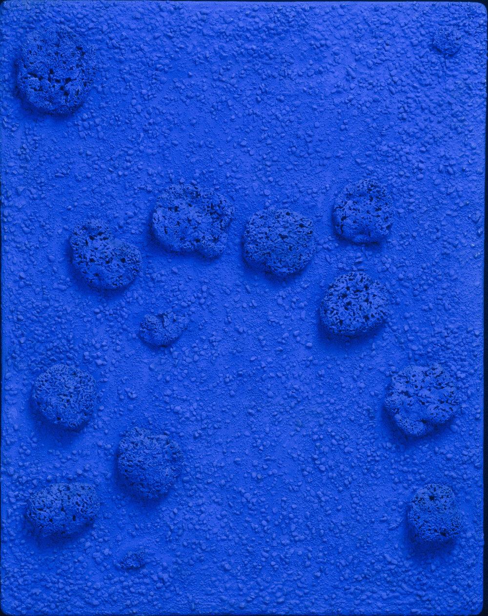 Blue Monochrome Sponge Relief (RE24)  , 1960 Yves Klein, French, 1928-1962 Sponges, pebbles, dry pigment in synthetic resin on wood board 57 1/4 x 45 3/8 x 3 3/4 in. (145.4 x 115.3 x 9.5 cm) Gift of Mr. and Mrs. Joseph H. Hazen, P.961.288 © 2017 Yves Klein /ADAGP, Paris; Artists Rights Society (ARS), NY