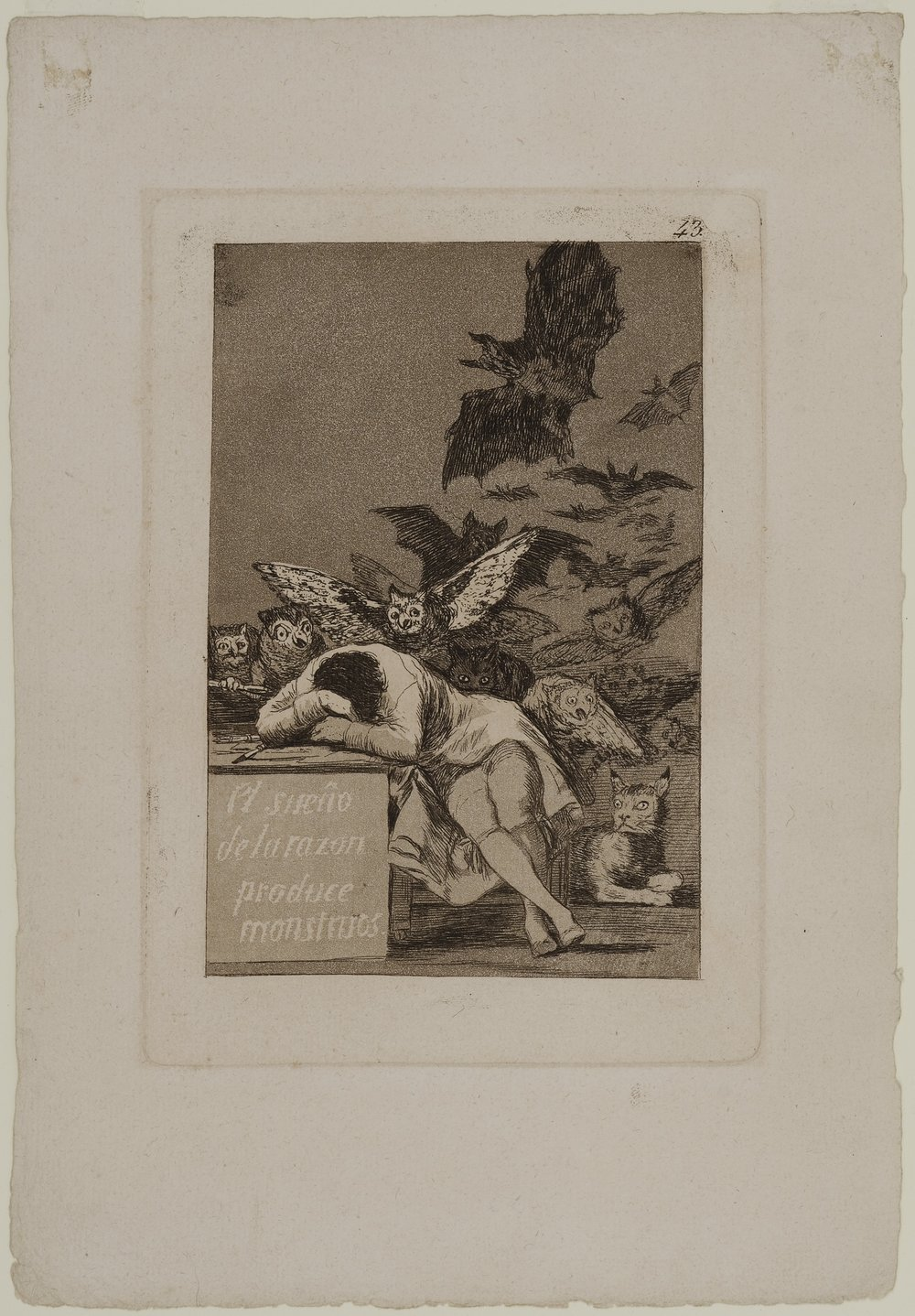 The Sleep of Reason Produces Monsters (El Sueno de la Razon Produce Monstruos), plate 43; from the series The Caprices (Los Caprichos), 1797; published 1799
