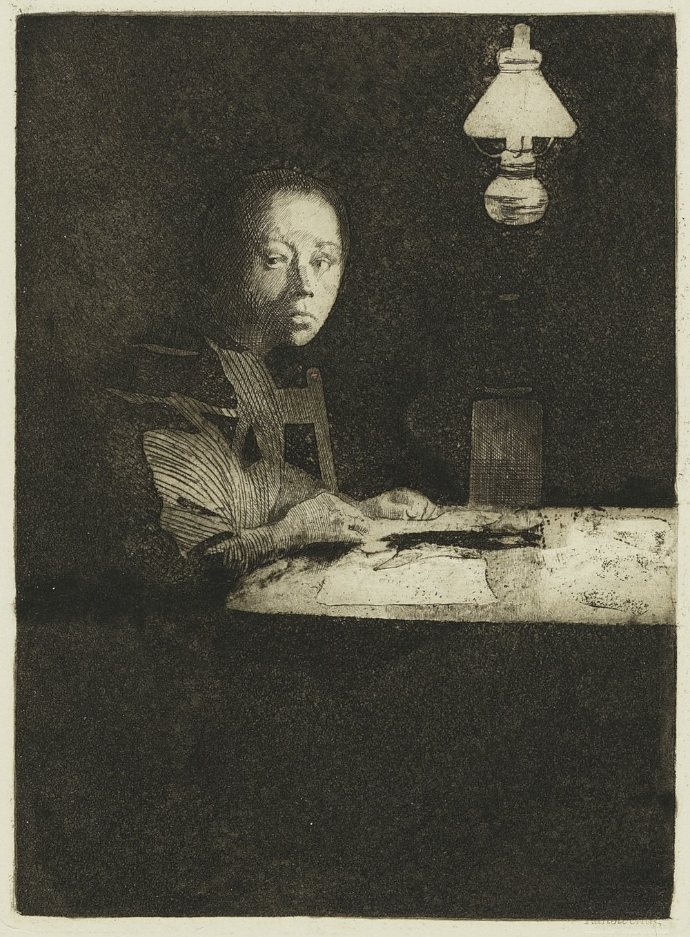 Selbstbildnis am Tisch (Self-Portrait at Table), about 1893; published about 1931 Kathe Kollwitz, German, 1867 - 1945 Etching and aquatint on wove paper Sheet: 12 1/4 x 9 7/8 in. (31.1 x 25.1 cm) Purchased through the Guernsey Center Moore 1904 Memorial Fund, PR.963.144