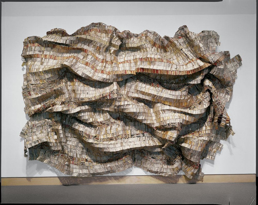 Hovor  , 2003 El Anatsui, Ghanian, born 1944 Aluminum bottle tops and copper wire Overall: 240 x 216 in. (609.6 x 548.6 cm) Purchased through gifts from the Lathrop Fellows, 2005.42 © 2017 El Anatsui