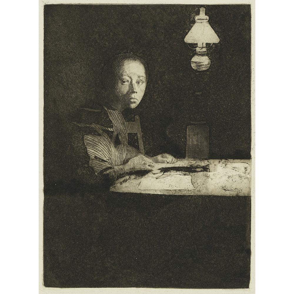Selbstbildnis am Tisch (Self-Portrait at Table), 1893   Kathe Kollwitz