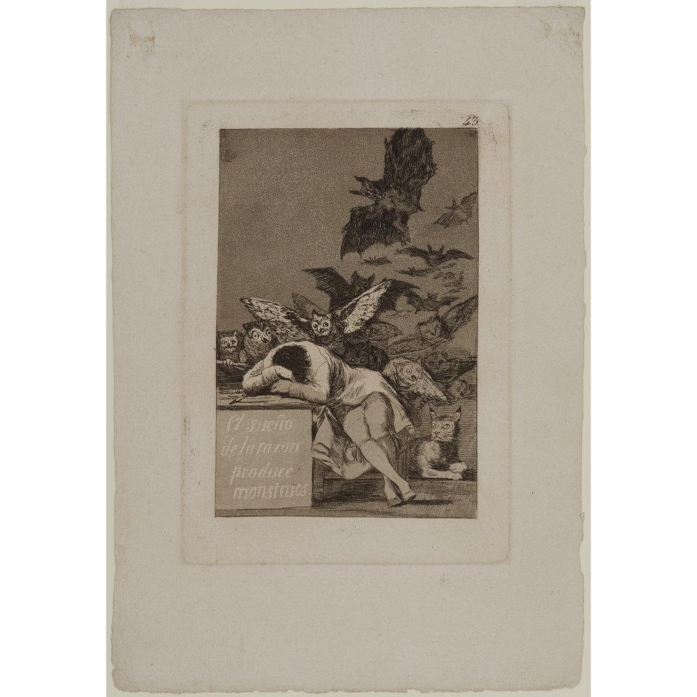 El Sueno de la Razon Produce Monstruos     (The Sleep of Reason Produces Monsters),    1797  Francisco Jose de Goya y Lucientes