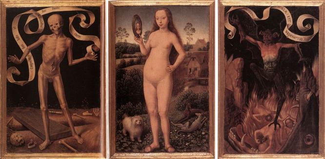 Vanity (Triptych of Earthly Vanity and Divine Salvation), Hans Memling, 1485, oil on oak panel, Musée des Beaux-Arts, Strasbourg, France