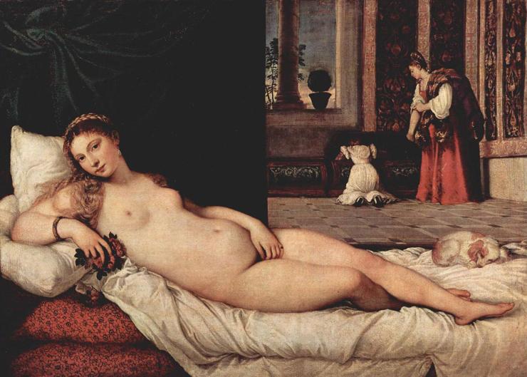 Venus of Urbino, Titian, 1538, oil on canvas, Galleria degli Uffizi, Florence, Italy