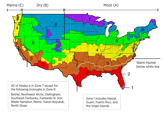 2012 International Energy Conservation Code Climate Zone Map